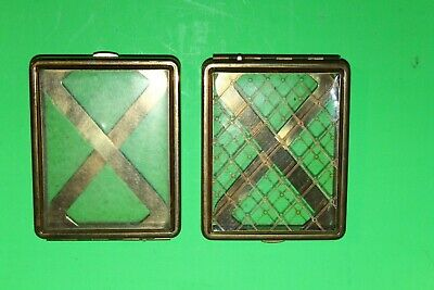 Pair of Vintage Cigarette / Card Holder Clear 1950's Gold / Brass Compact