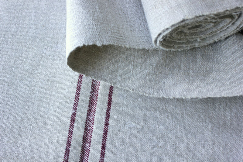 Vintage Flax Fabric bolt linen hemp Homespun upholstery 5.8 YARDS GRAY GREY