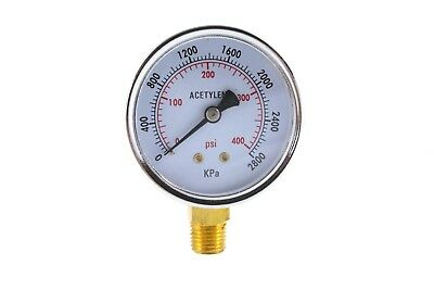 High Pressure Gauge For Acetylene Regulator 0-400 Psi - 2.5 Inches