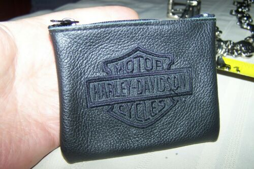 Harley-Davidson Black Zipper Change Purse Leather-Rare 2