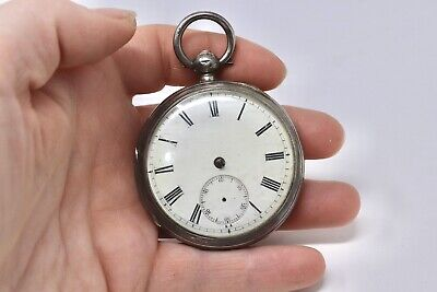 Antique Victorian C1883 Sterling Silver Fusee Key Wind Pocket Watch A/F 125g