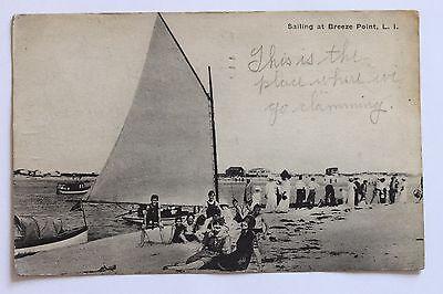 Old Postcard Sailing At Breeze Point  L I   N Y   1919
