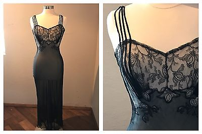 Vtg 1940s Black SILK CHIFFON sheer nightgown bias Halle Bros Marlette gown S Med