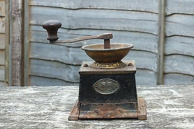 ANTIQUE . T & C CLARK & CO.  CAST IRON COFFEE GRINDER