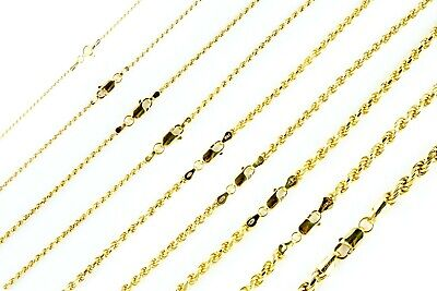 14k Gold over 925 SOLID Sterling Silver Diamond-Cut ROPE Chain Necklace  Diamond Cut Sterling Silver Necklace