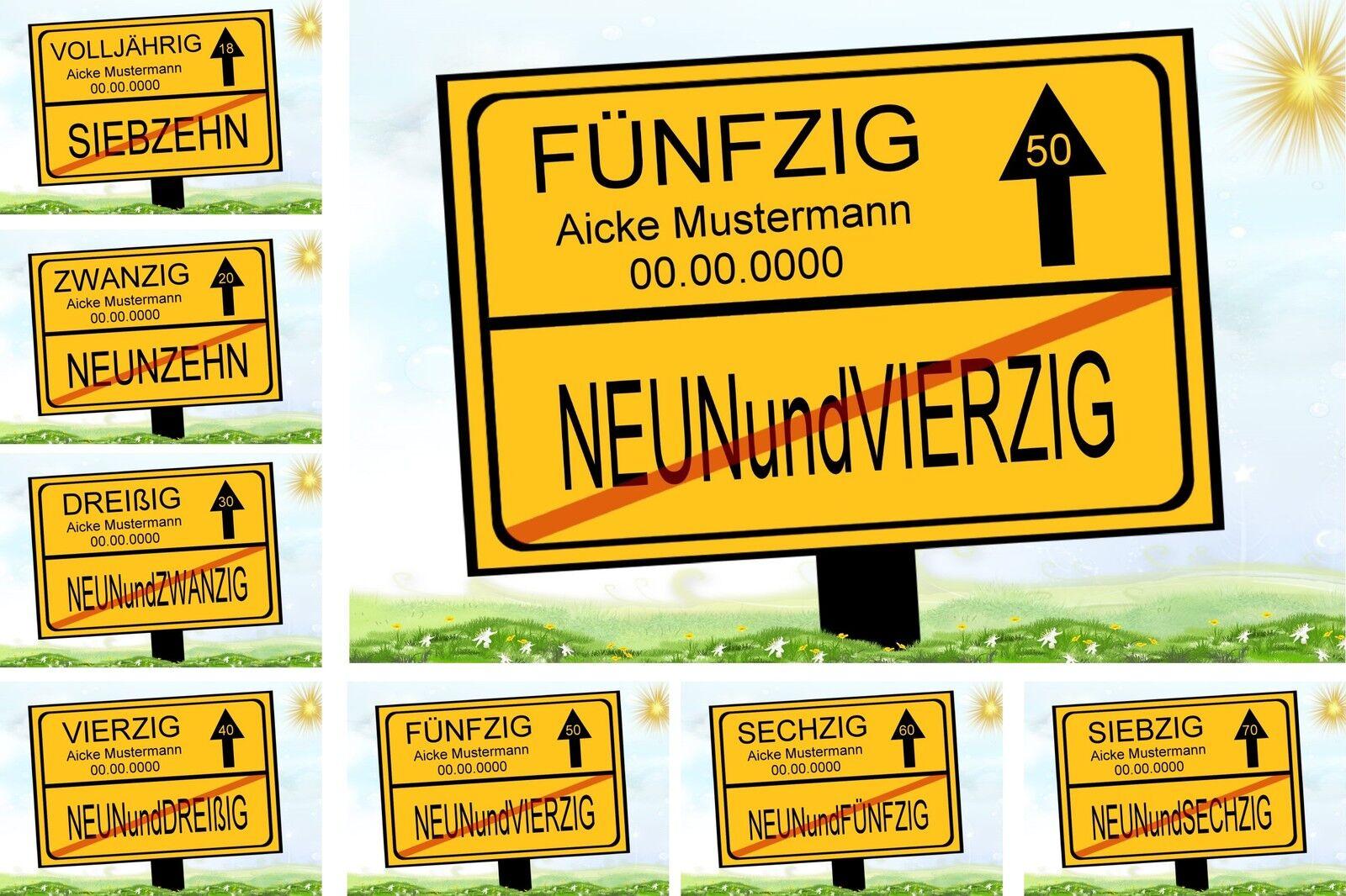 Ortsschild Bild 18 20 30 40 50 60 70 Geburtstag Deko Geschenk Verkehrsschild NEU
