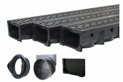 Channel Drain Grate - Drainage Trench - Channel Drain With Grate - Black Plastic - 3 x 39