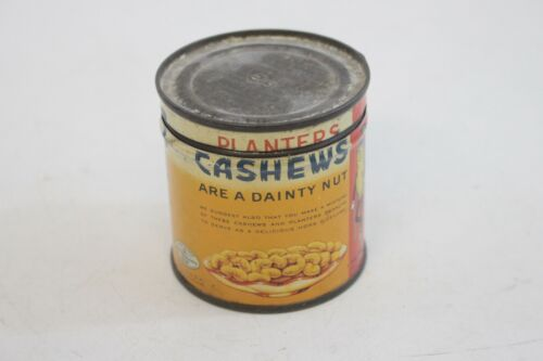 Vintage Planters Mr. Peanut Salted Cashew Nuts Tin 4 oz. Can -N8