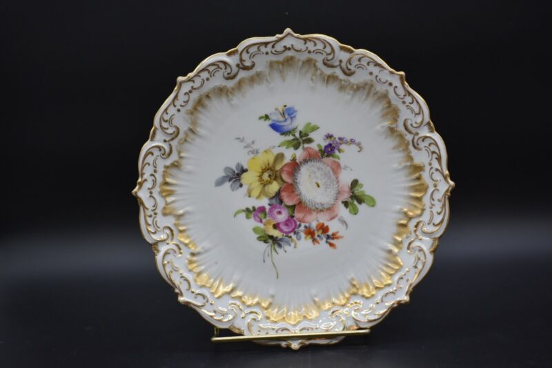 "Helena Wolfsohn Dresden German Hand Painted Flowers & Molded Gold 8 1/2"" Plate"