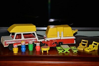 Vtg Fisher Price Little People Play Family Car/Pop-up Camper #992 Complete (B)