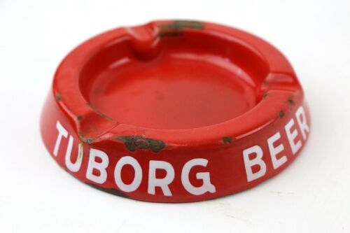 Vintage TUBORG BEER Porcelain Metal Red Cigar Cigarette Ashtray Advertising Bar