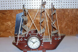 Vintage United USA Sailing Ship Clock Big Large Nautical Décor Mantel Table Old