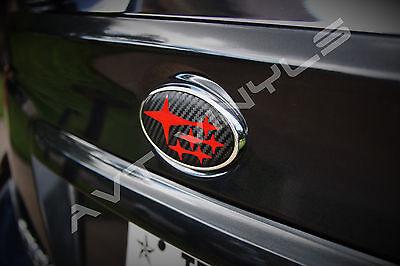 AVT2013-2017 SUBARU XV CROSSTREK BADGE EMBLEMS OVERLAY VINYL 3D CARBON FIBER RED