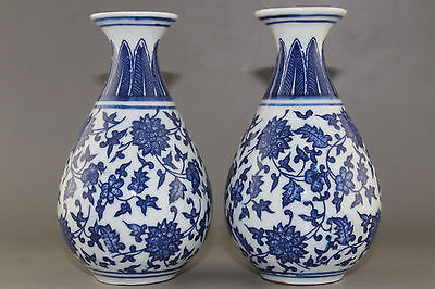 2pcs RARE BLUE AND WHITE PORCELAIN FLOWER VASE OF CHINESE ANTIQUE  B535