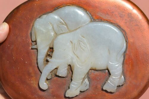 19C Chinese Jade Neprhite Carved Carving Elephant Plaque Lacquer Wood Box