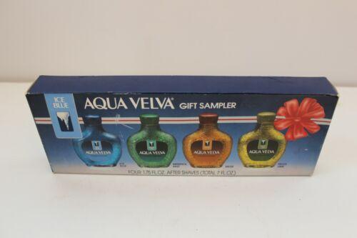 Aqua Velva Gift Sampler Set of 4 Ice Blue Menthol Mist Musk Frost Lime Total 7oz