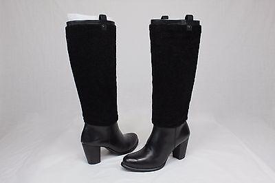 UGG AVA EXPOSED TALL BLACK LEATHER SHEEPSKIN PULL ON HEELS US 6.5 Leather Pull On Heels