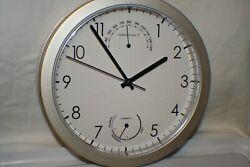 Silent Quartz Wall Clock Quiet Sweep Movement Thermometer Hygrometer Indoor 8.5