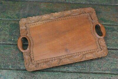 Lovely Vintage Highly Carved Leaf Design Hardwood Serving Tray 38.5cm x 24cm