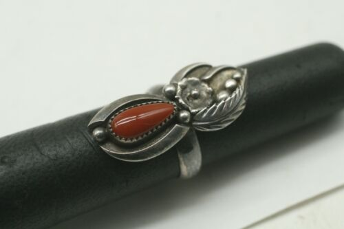 Vintage Sterling Native Navajo Old Pawn Shadow Blossom Bud Coral Ring Sz 6.5