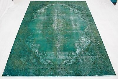Perser Vintage Orient Teppich dekorativ modern 380x280 grün handgeknüpft 177265 - Dekorative Teppiche Moderne Teppiche