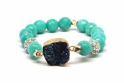 Druzy Beaded Dark Blue Agated Bracelet With Matte Sea Green Beads