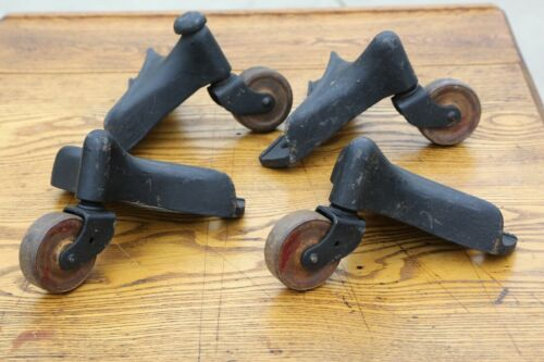 Set of 4 Antique Cast Iron Caster Wheels Stove Piano Movers Casters industrial
