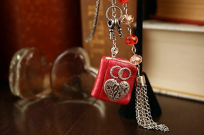 Two Hearts One Love Ring (Love Bookmark Pink Polymer MiniBook Two Keys Two Rings One Heart and)