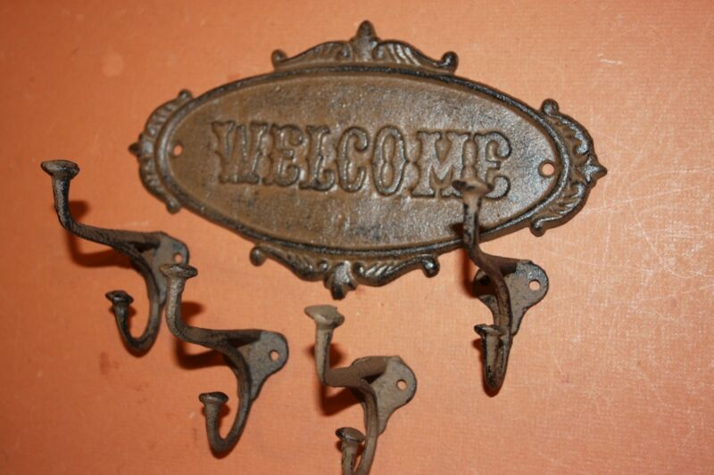 (5), AMERICANA WELCOME PLAQUE WITH COAT AND HAT HOOKS, CAST IRON, N-44,H-XX
