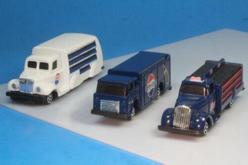 3 Diecast Pepsi Cola Bottle Trucks, 1937, 1938, 1963. 1:64 Scale.