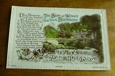 G108 'Best of Wishes For Your BIRTHDAY Dear HUSBAND' Postcard