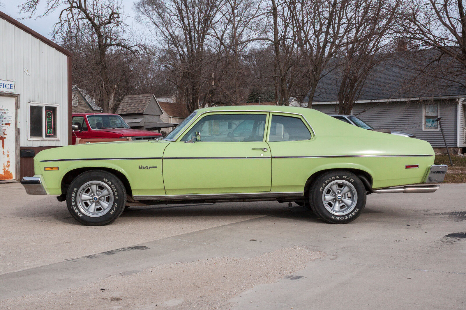 1974 chevy nova 2 door unrestored lime yellow muscle car hot rod barn find used chevrolet. Black Bedroom Furniture Sets. Home Design Ideas