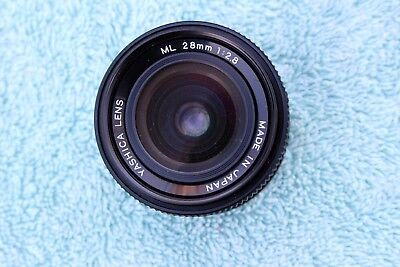 Yashica ML 28mm f/2.8 lens, poor man's Zeiss Distagon, Mint with caps & case