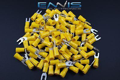 10-12 Gauge Vinyl Locking Spade 8 Connector 25 Pk Yellow Crimp Terminal Awg
