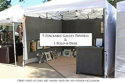 9 Armstrong 3x7 Art Show Portable Display Panels 9 Stackables 1 Fold-a-desk