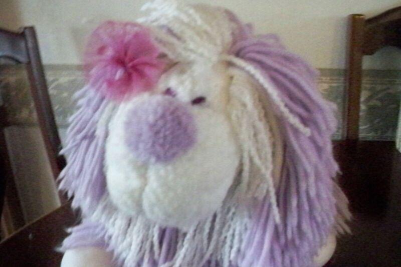 "Vtg 1986 Disney Kenner Fluppy Dogs Purple/ White Yarn Hair 12"" Nice!"