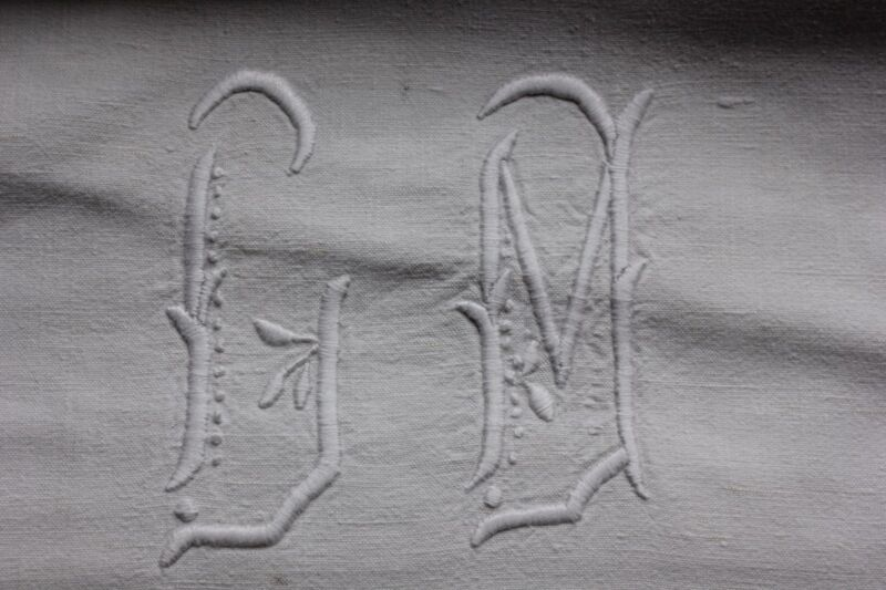 Antique French Linen Sheet trousseau 85X134 CM monogram metis fabric old