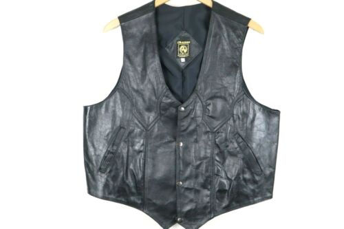 Vintage 1970s Mens Chasser Leather Biker Vest Size 44 Black