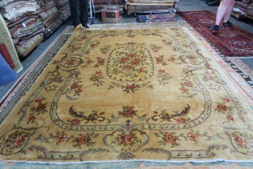 Vintage European Piled Rug Handmade Wool Savonnerie Excellent 8