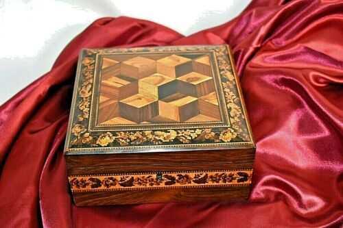 Small Tunbridge ware hankies box