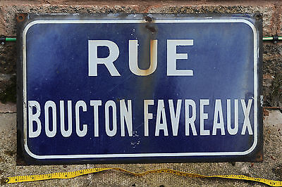 French vitreous enamel on steel street sign road plaque vintage Boucton Favreaux