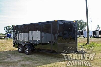 New 2021 7x16 Blackout Black Out V Nosed Enclosed Cargo Motorcycle Trailer Ramp