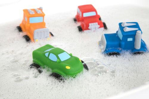 Nuby Bathtime Fun Little Squirt Wheels Bath Toys 4-Pack - Toy Trucks - BPA Free