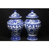 Chinese Jingdezhen ancient pagoda blue and white porcelain vase T2