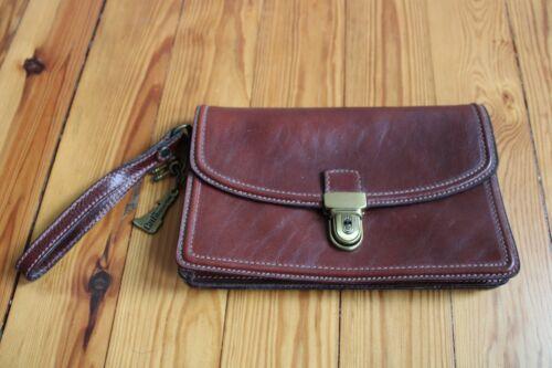 Vtg Ca.Gi Pelletterie Maroon Leather Lock Key Clasp Clutch Italy 6x9.5 CaGi