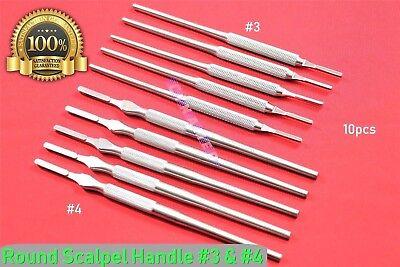 Premium German Stainless Round Scalpel Handle 3 4 10pcs Surgical Veterinary