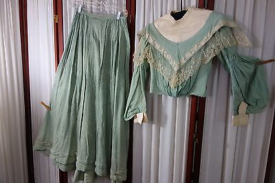 1890's Suit- Skirt & Top-S- Mint Green Wool-Bishop's Sleeves & Lace -LOVELY-SALE