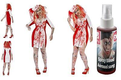 Womens Plus Size Zombie DOD Nurse Fancy Dress & FREE Fake Blood Halloween Fun 🎃 (Zombie Plus Size Halloween-kostüme)