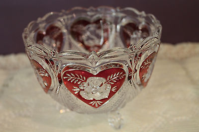 HOFBAUER GERMAN CRYSTAL 3-FOOTED CANDY DISH - RUBY HEART AND CLEAR ROSE 3 Footed Candy