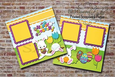 Easter Bunny 2 PRINTED Premade Scrapbook Pages Boy Girl Baby